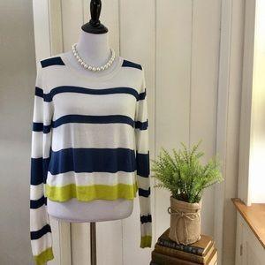 "BCBG MAX AZRIA Navy Striped Silk ""Isla"" Sweater"